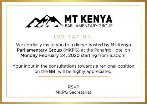 An invite to the MKPG dinner to be hosted at the Panafric Hotel in Nairobi on February 24, 2020.