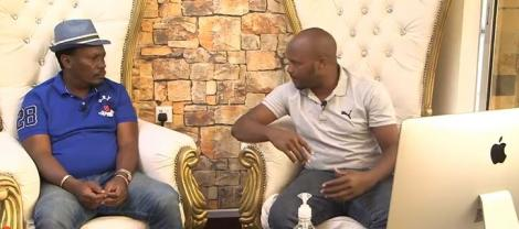 Former Kiambu Governor William Kabogo with comedian Jalang'o on the latters YouTube show on Friday, June 19