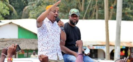 Mombasa Governor Hassan Joho with Msambweni constituency ODM candidate Omar Boga on October 16, 2020.