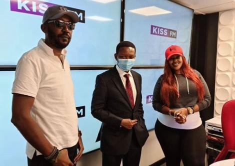 Radio presenters Andrew Kibe (Left) and Kamene Goro (right) with Machakos Governor Alfred Mutua on May 22, 2020.