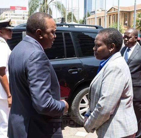 File: President Uhuru Kenyatta and Lands CS Faridah Karoney