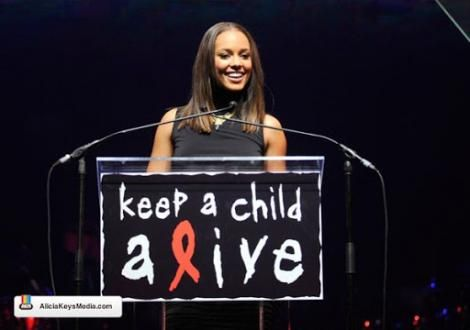 American artiste Alicia Keys speaking at an event