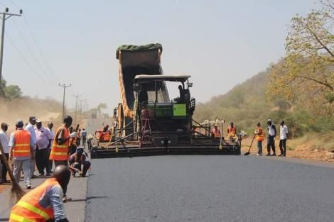 A file image of contractors working on the Kibwezi-Kitui Highway