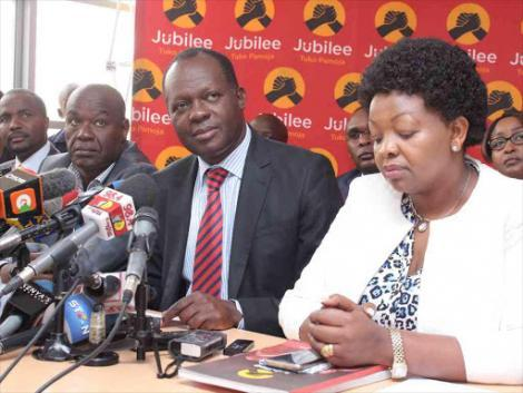 Jubilee former deputy secretary-general Caleb Kositany, secretary-general Raphael Tuju and Veronica Maina at Jubilee House on February 22, 2017.
