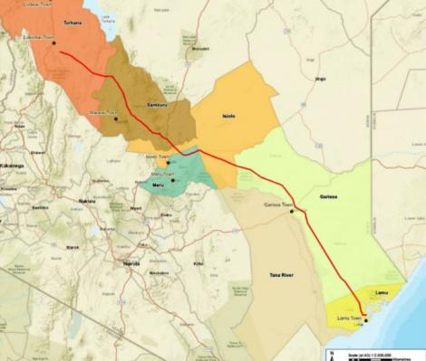 The representation of the pipeline route from Lamu to Lokichar