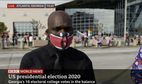 BBC jopurnalist Larry Madowo reporting in Atlanta Gergia on November 6, 2020.