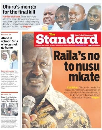 The original cover story on The Standard newspaper of May 27, 2020