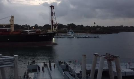A ship passing through the Likoni Floating Bridge