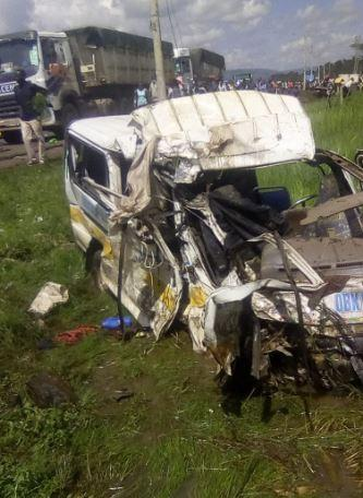 A matatu involved in a road accident at the Londiani junction on Saturday, May 23.