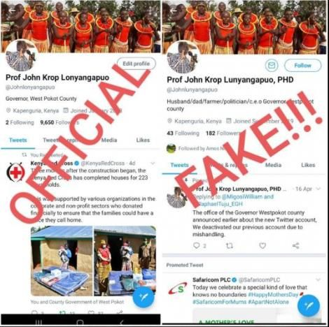 A notice by West Pokot governor John Lonyangapuo on a fake account