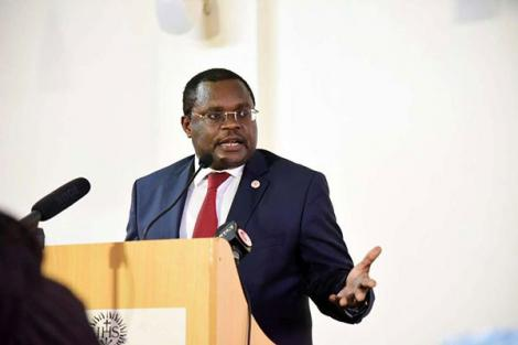 Senate Speaker Kenneth Lusaka addressing participants during an event at Hekima University College in Nairobi on May 3, 2018.