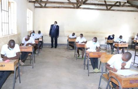 CS Magoha supervising KCSE exams at St Pauls Agenga School in Migori County on March 26, 2021.