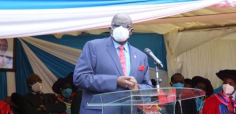 Education CS George Magoha speaking at the UoN graduation ceremony on September 25, 2020.