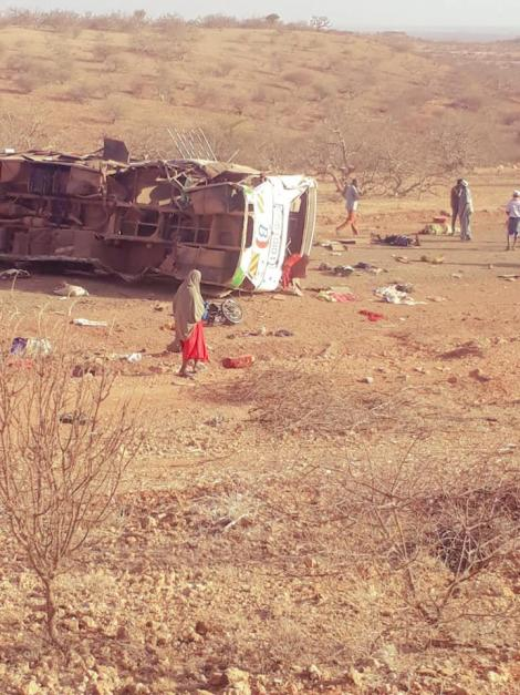 A Mandera-bound bus overturns after hitting an Improvised Explosive Device on Wednesday, March 24.