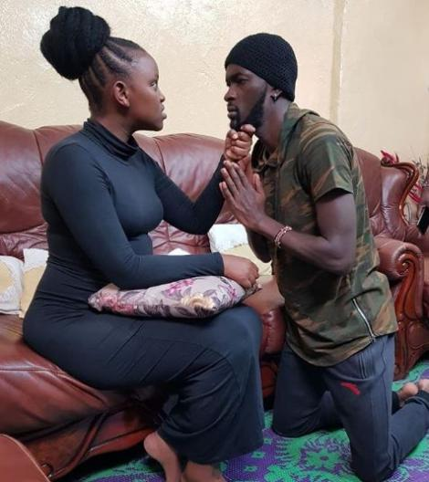 Anthony Ashioya as Tekno (right) with Beatrice Dorea Chege (Maggy) in Citizen TV's drama series Maria