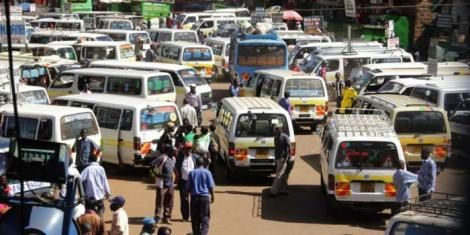 Matatus at a bus stage. The PSVs were directed not to carry more than 50% of their capacity to adhere to social distancing regulations.