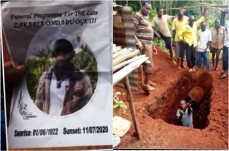 Fake burial brochures and photos of men digging his parent's grave.