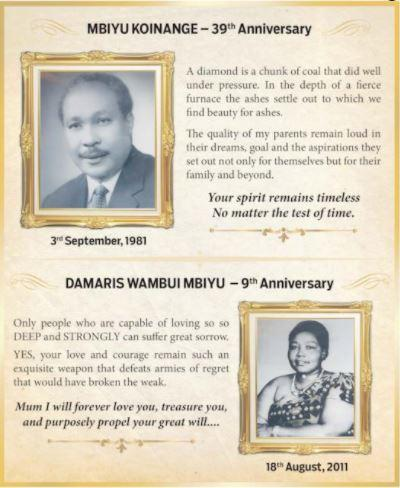 A newspaper ad in memory of the late Mbiyu Koinange and his wife Damaris Wambui