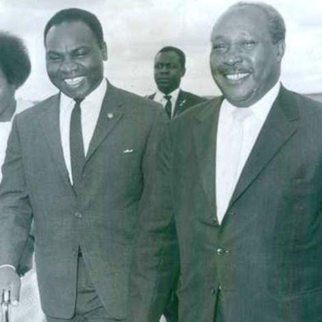 Mbiyu Koinange (R) who was government minister under first president Jomo Kenyatta.