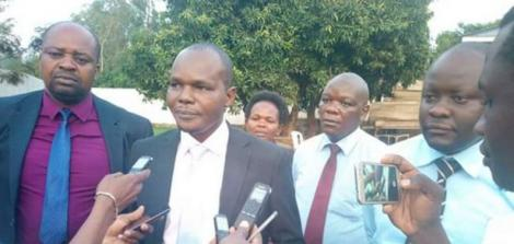 Migori County Assembly speaker Boaz Okoth addressing the press in 2017.