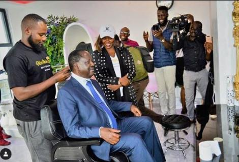 ODM Leader Raila Odinga getting a haircut at Miss White Spa in Nairobi in December 2019.