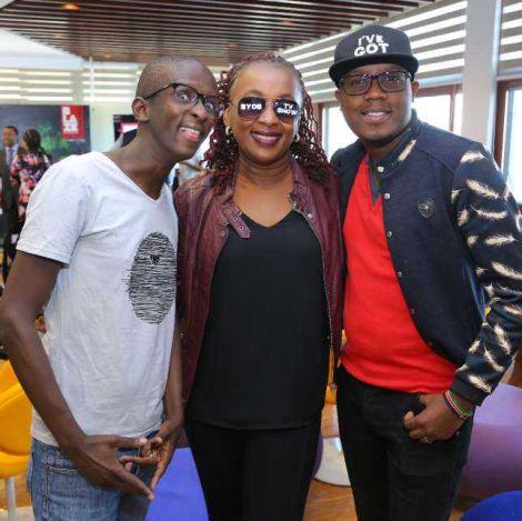 From Left: Safaricom COO Sylvia Mulinge, Actors Njuguna and Alfred Mutua at a past Safaricom event