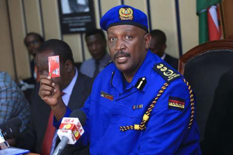 Inspector General of Police Hillay Mutyambai addresses a press conference at Harambee House on June 28 2019.