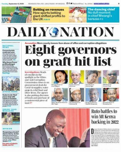 The cover story by Daily Nation of September 8, 2020