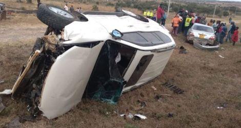 The accident involving nominated senator Priscilla Kitsao's vehicle along Mombasa Road on August 5, 2020.
