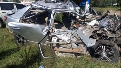 The car involved in an accident at Narumoru, Nyeri on Monday night, June 2, 2020