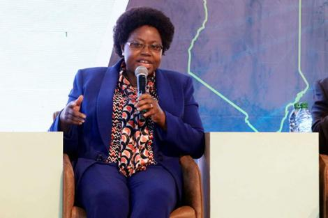 Newly appointed NTSA Chairperson Agnes Odhiambo speaks during the sixth devolution conference at Kirinyaga University on March 7, 2019.