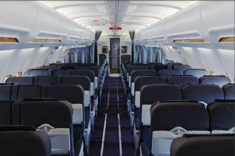 A photo taken inside a Boeing 737-500 Corporate