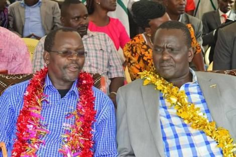 West Pokot Governor John Lonyangapuo (left) with West Pokot Senator Samuel Poghisio