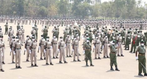 Recruits to the 44th Parade Pass-0ut Prisons at the Prison Staff Training College, Ruiru, August 13, 2020.
