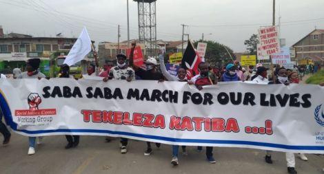 Protestors marching along Nairobi streets on July 7, 2020.