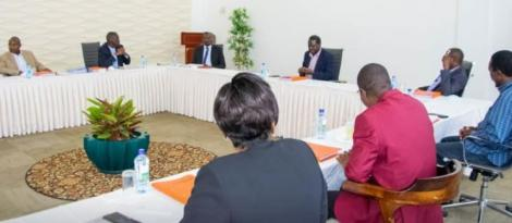 ODM leader Raila Odinga chairing a meeting with the party's Central Committee on August 11, 2020.