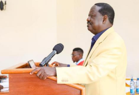 ODM leader Raila Odinga addressing ODM NEC members in a meeting at Machakos on September 25, 2020.
