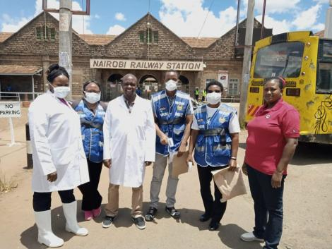 Ministry of Health officials preparing to random screen members of the public for COVID-19 symptoms at Nairobi Railway Station, in Nairobi on Saturday, March 21, 2020.