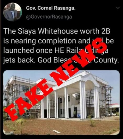 The post which was termed as fake by Siaya governor on July 4, 2020.