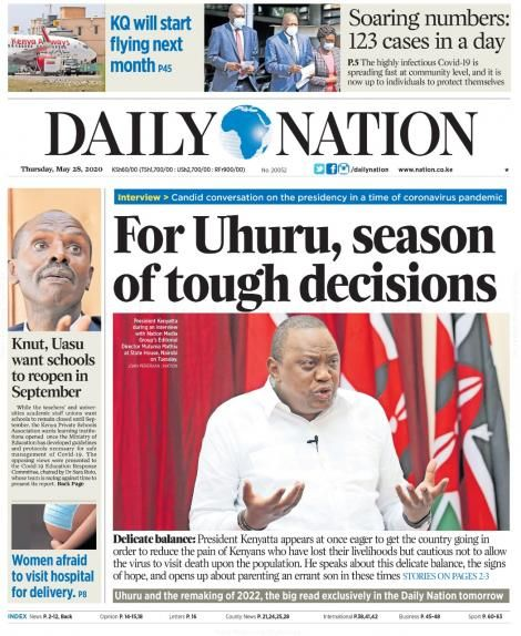 Legitimate Daily Nation cover on Thursday, May 28, 2020
