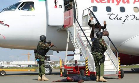 A photo of Recce officers conducting a security drill at JKIA in 2016