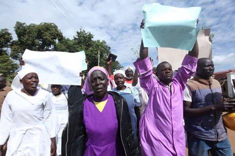 Roho Judea Church faithful demonstrating in Siaya town on January 28, 2020