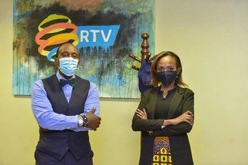 JKLive show host Jeff Koinange and RTV anchor Fiona Mbabazi during an interview on Friday, September 11