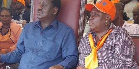 Ruth Odinga and ODM's leader Raila Odinga at a past function