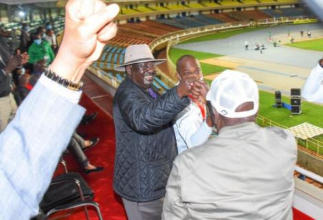 ODM leader Raila Odinga (left) with DP ruto during a football match on November 9, 2020.
