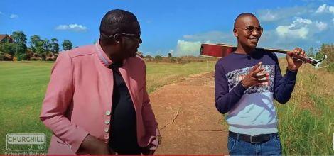 Comedian Daniel Churchill Ndambuki interviewing Samuel Muchoki alias Samidoh