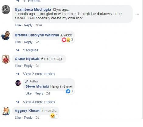 Screenshots of Kenyans relaying times they thought of committing suicide