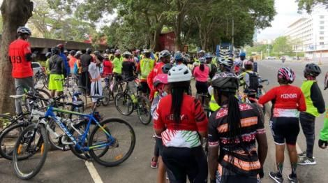 Cyclists with Spin Kings Kenya on October 24, 2020.