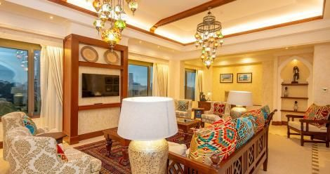 The lounge of the presidential suite at the Serena hotel