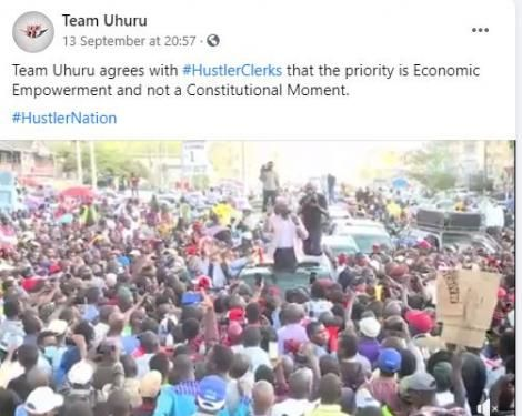 A suspicious post made by hackers who took over the Team Uhuru Facebook page